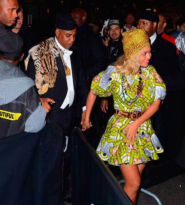 "Beyonce and Jay Z styled African royalty, circa ""Coming to America."" (Photo: Splash News)"