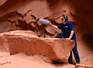 Michael McDonough recording in a cave
