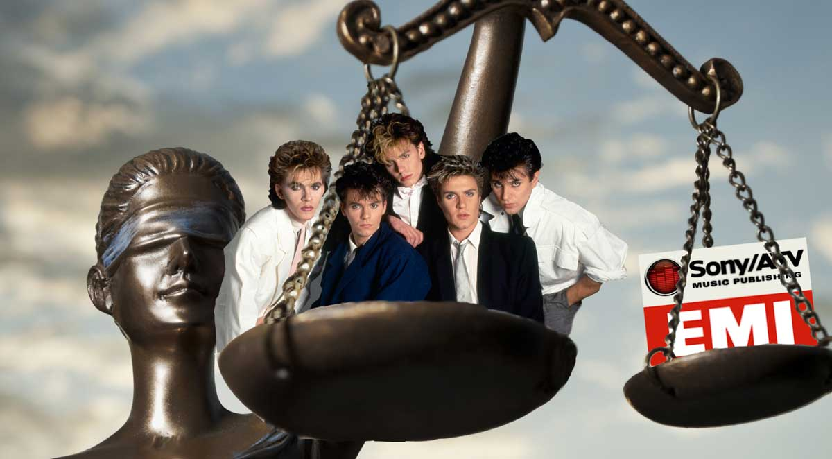 Duran Duran perched on scales of justice