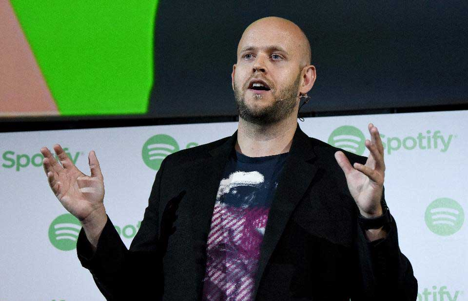 spotify's daniel ek gives an onstage presentation