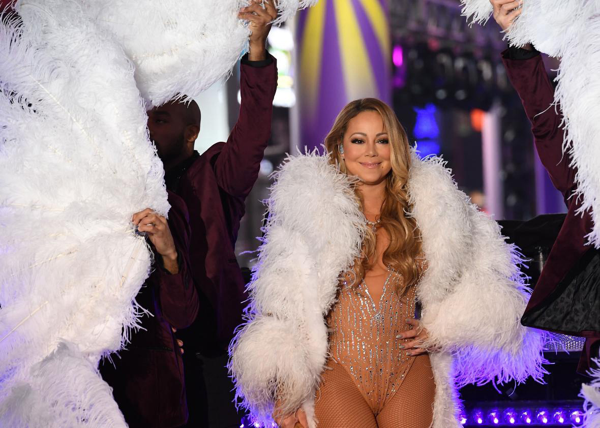 Mariah Carey performs in Times Square at Dick Clark New Year's Rockin' Eve. (Photo: Angla Weiss / AFP - Getty Images)