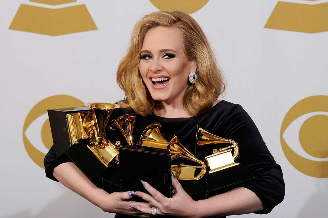 Sony Music recording artist Adele took home five trophies and delivered some of the evening's most compelling performances. (Photo courtesy CBS)