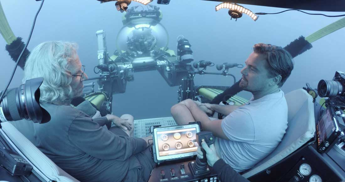 Marine ecologist Jeremy Jackson of Scripps tours the ocean with Leonardo DiCaprio in Before the Flood. (Photo courtesy RatPac Documentary Films)