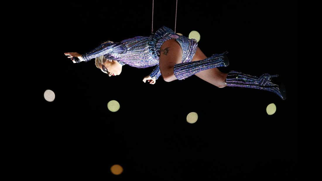 Lady Gaga's aerial descent on the NRG Stadium