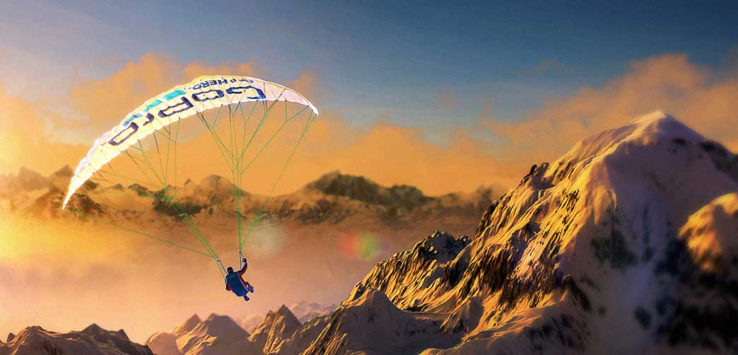 Paraglider soars through the videogame Steep.