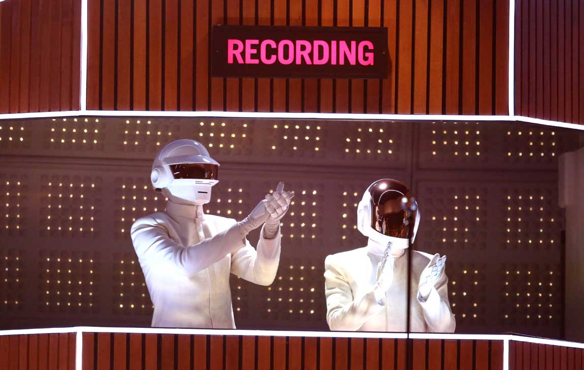 Daft Punk performs at the 56th Grammy Awards in 2014