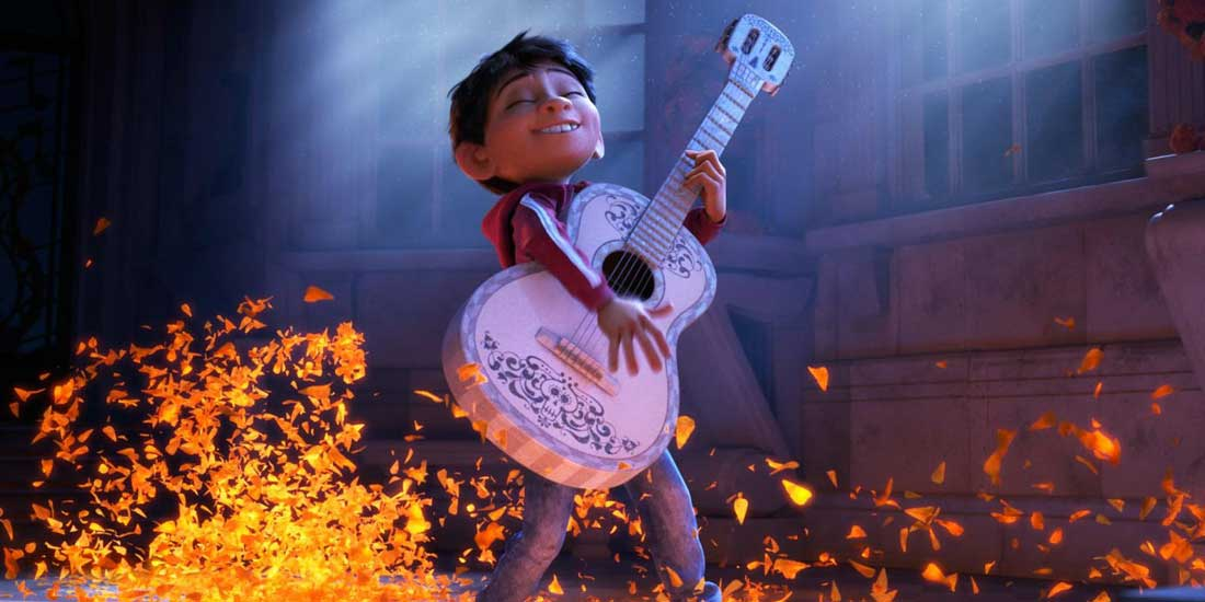Animation still of young Miguel playing the guitar.