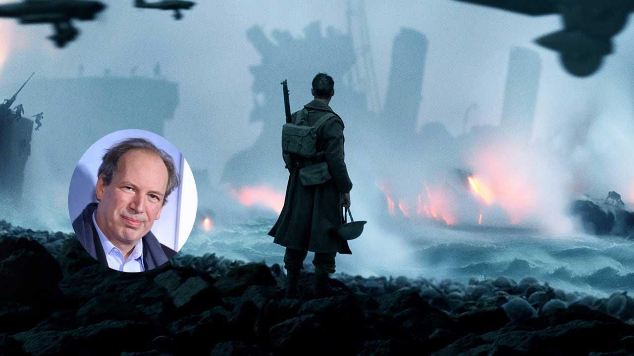 Hans Zimmer inset with background of war-torn Dunkirk