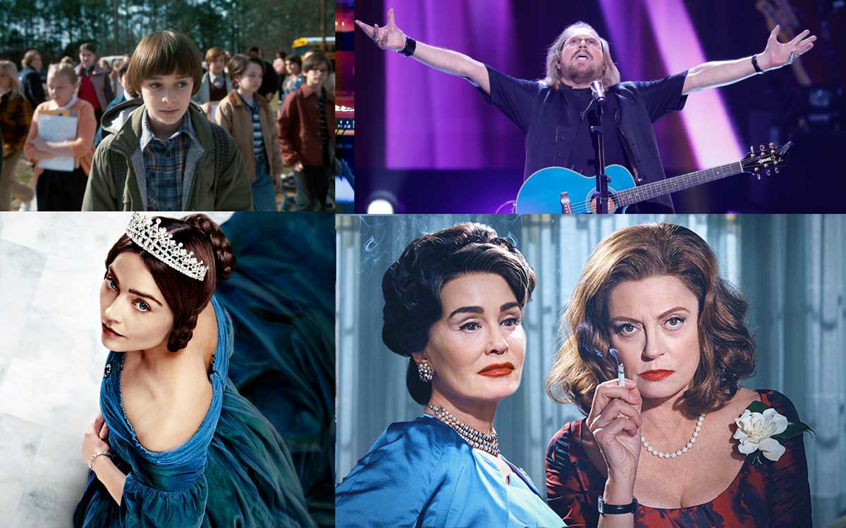 A collage of images featuring the young boy from Stranger Things, Bee Gee Barry Gibb outstretches his arms in a Christ-pose, Jessica Lange and Susan Sarandon looking very 50s, and the regal Jenna Coleman in a diamond tiara.