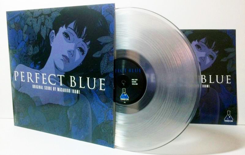 LP record sleeve with blue-violet anime girl and clear vinyl LP