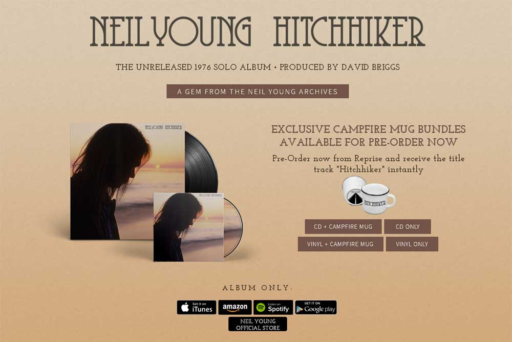 Preorder page for Neil Young's September 2017 release Hitchhiker, recorded in 1976