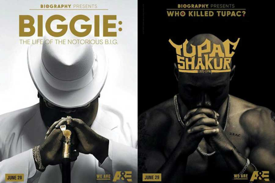 White poster featuring Biggie on left, with black poster for Shakur on right.