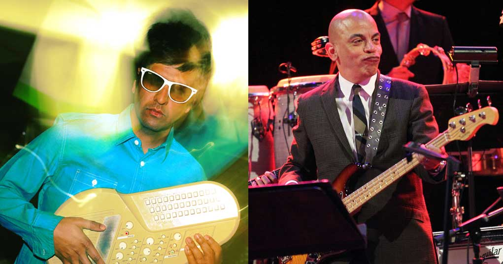 Sid Khosla and hand-held keyboard, and Rickey Minor playing bass guitar.
