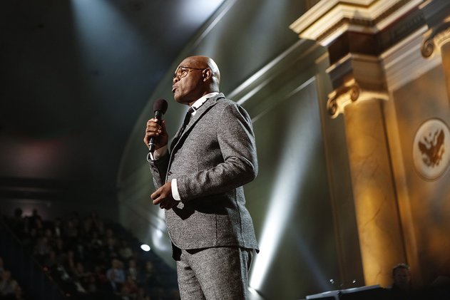 Samuel L. Jackson looking natty in a gray suit.