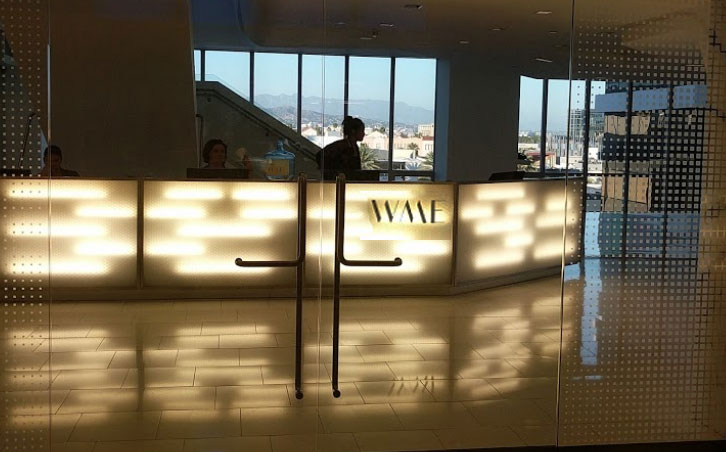 WME reception area bathed in low-key mood lighting.