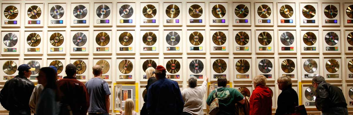 Photo of Country Music Hall of Fame wall of records by John Russell