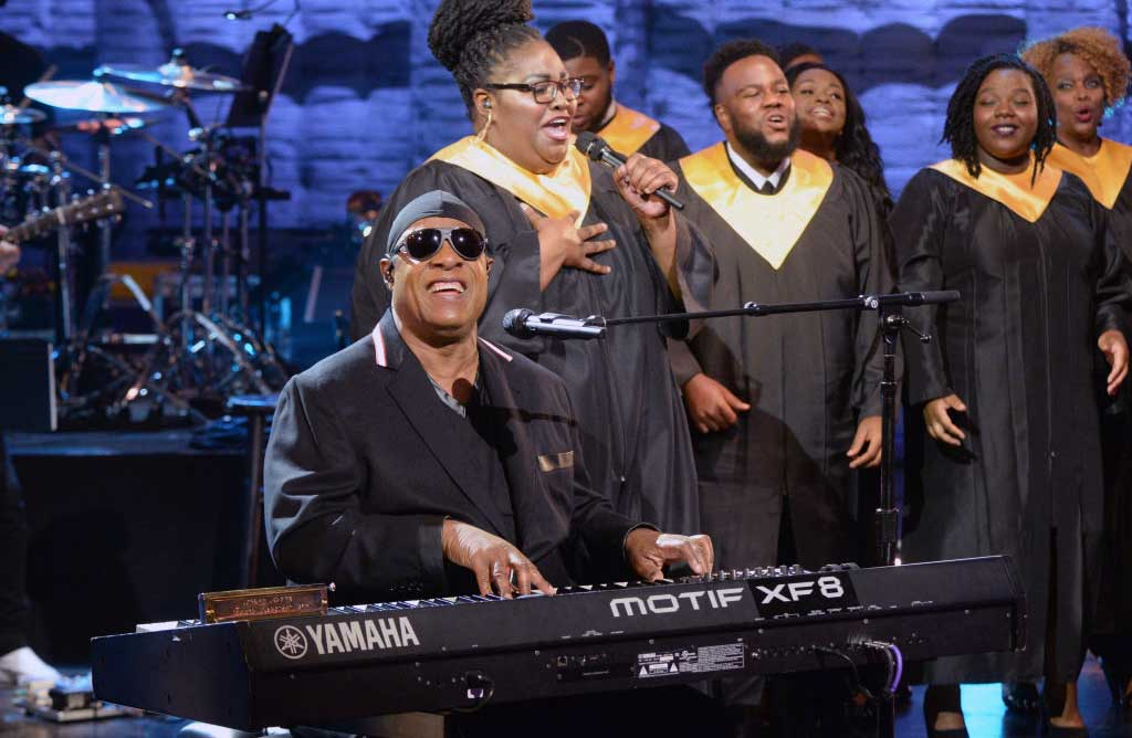 "Stevie Wonder performs during the ""Hand in Hand: A Benefit for Hurricane Relief"" special"