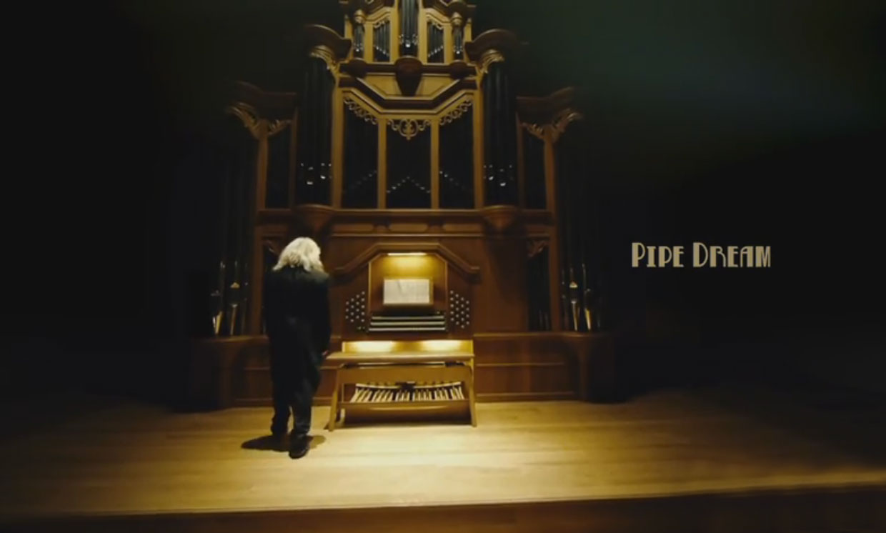 "Man approaches pipe organ in the clip ""Pipe Dream"""